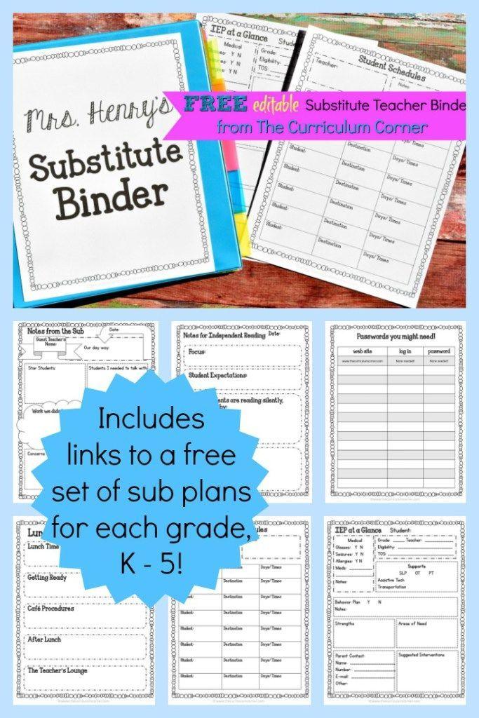 TEACHERS!!!! FREE Editable Sub Binder + FREE Sub Plans for K - 5! The Curriculum Corner