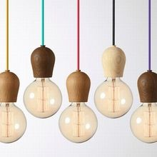 Vintage hanglamp Eiken Hout Retro lamp 120 cm kleur draad E27/E26 socket hout lampholder Opknoping lichtpunt. geen gloeilampen