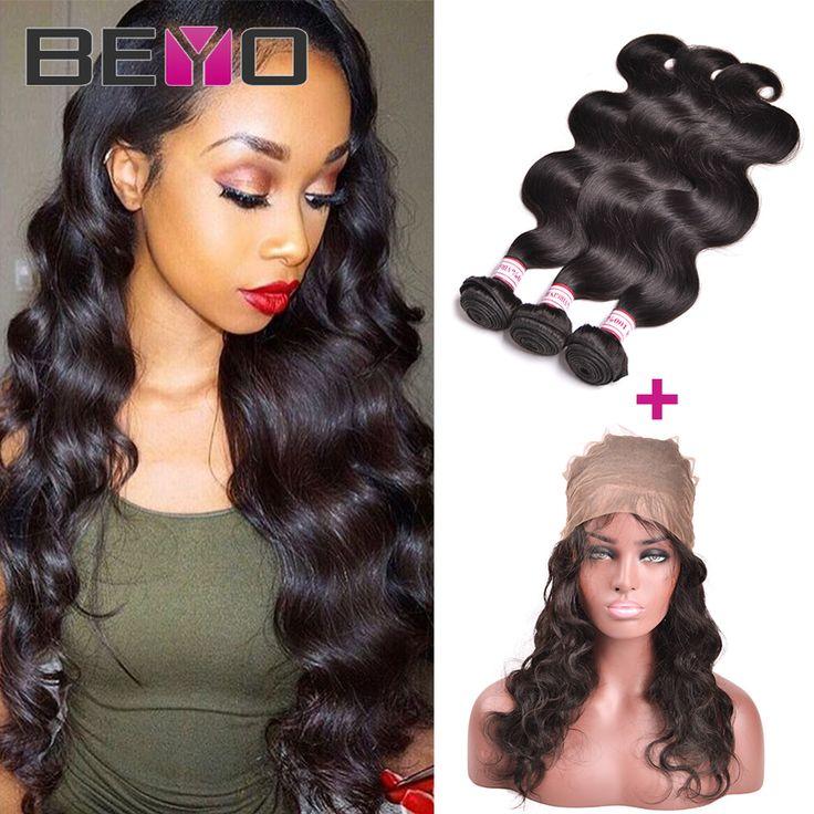 360 Renda Frontal Dengan Bundel Gelombang Tubuh Brazilian Rambut Perawan 4 Bundel Menenun Rambut Manusia 360 Lace Band Dengan Bayi rambut