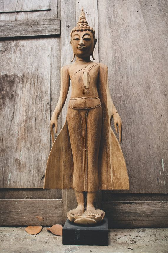 Large Buddha Statue. Wood Carving Image of the Standing Buddha on Lotus Flower. Open Earth Gesture. A Powerful Feng shui Decor to your Home.