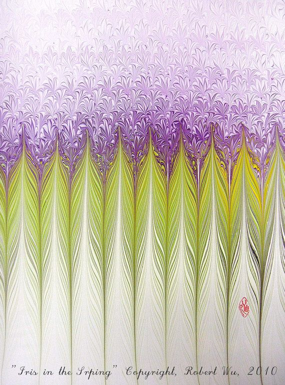 Iris in the Spring - Original Marbling Art, Marbled Paper, Marbled Graphics in Watercolor