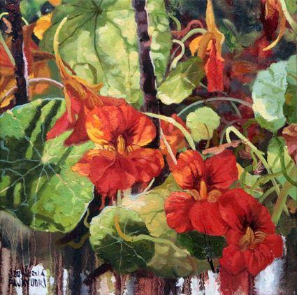 Nasturtium part 10. Oil on canvas 35x35cm. 2016.