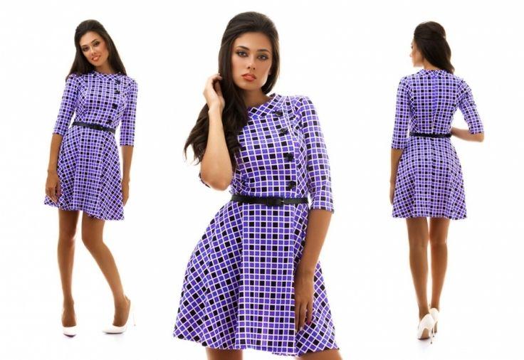 Платье в квадратик юбка клеш фиолетовое