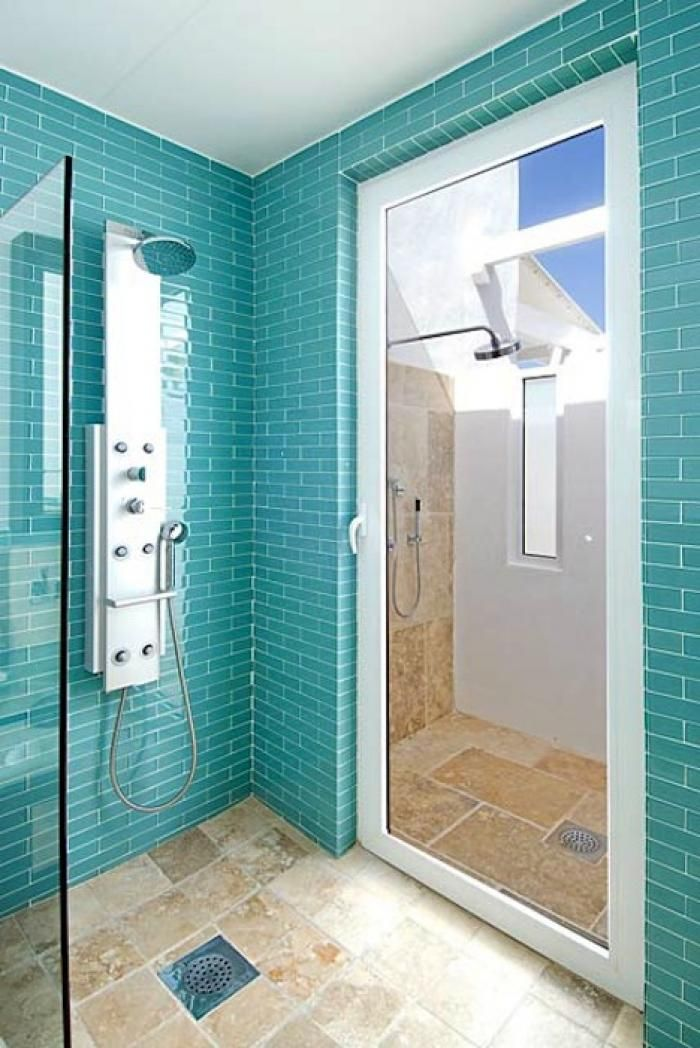 Coastal living beach house bathroom turquoise tiles for House tiles