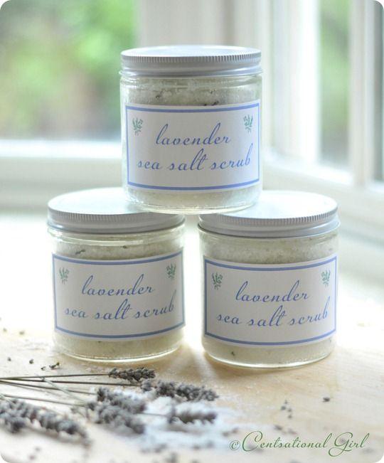 DIY Lavender Sea Salt Scrub - sea salt, grapeseed oil, lavender essential oil, dried lavender. Label download.