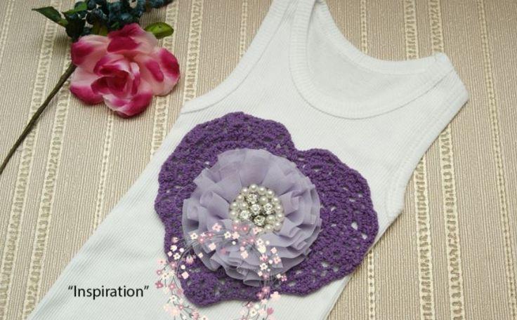 DIY inspiration with heart doilies and fabric flower #doilies #australia #blanksinglet #DIYembellishment #vintageinspired #handmadewithlove