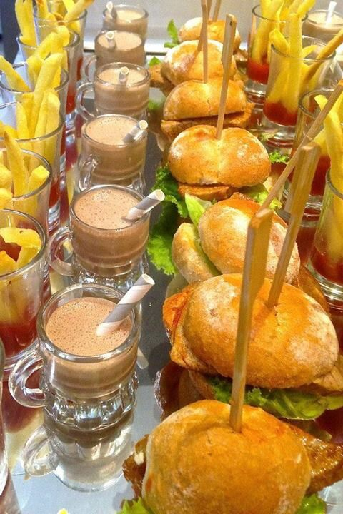 Mini prego rolls and chips with chocolate milkshakes