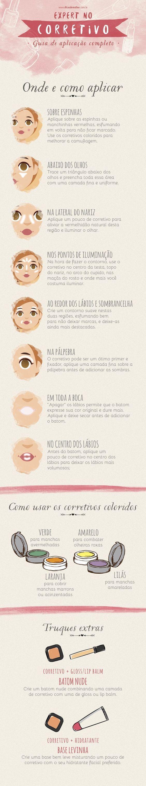 Como usar corretamente cada corretivo!! Visite nossa loja!  #Hinode #DAZZLE #Bellaoggi #Makeup #Corretivos | Maquiagens lindas | Pinterest | Makeup, Mary kay a…