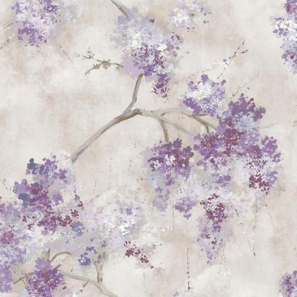 Roommates Weeping Cherry Tree Blossom Purple Vinyl Peelable Roll Covers 28 29 Sq Ft Rmk11464rl The Home Depot Peel And Stick Wallpaper Cherry Tree Weeping Cherry Tree