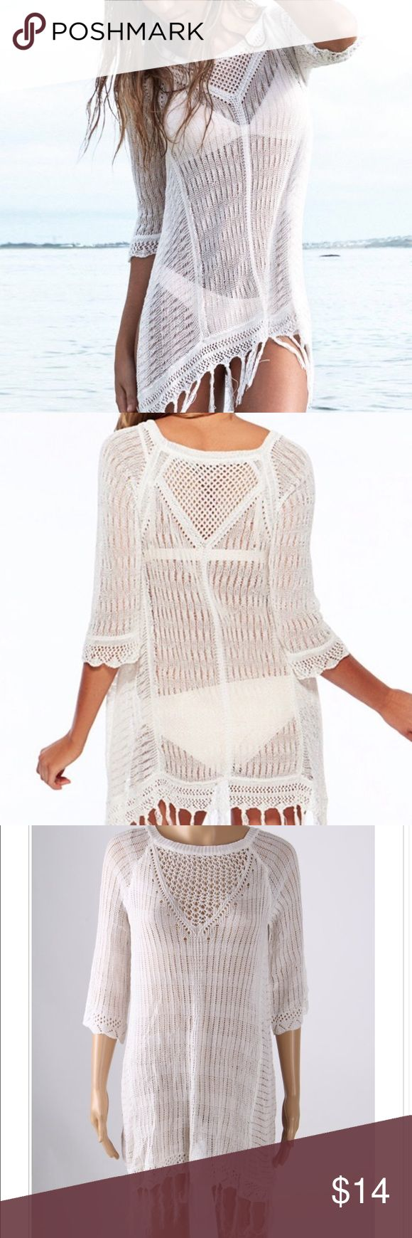 *Sample Sale* Knitted Fringe Swimsuit Cover Size M Fits Women US Size 2-8 or a XSmall/Small/Medium. Fringe is frayed as on photo. All of our showroom samples are brand new and unused. No tags. Swim Coverups