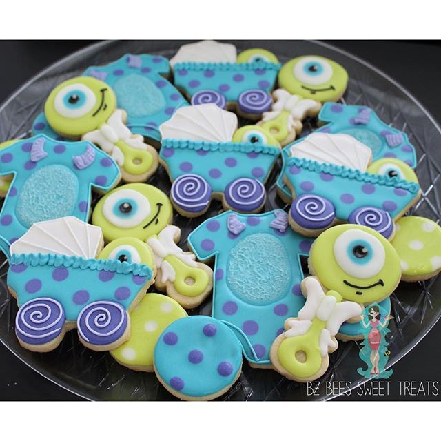 Monsters Inc inspired baby shower cookies, perfect for lil' monsters everywhere