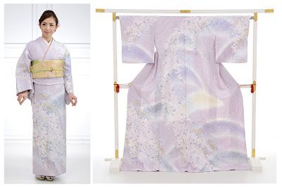 "Houmongi is a semi-formal kimono that can be worn by married and unmarried women, in parties or weddings of distant relatives and friends. It has shorter sleeves than furisode, and patterns that run over the seams, making it more ""flashy"" - and less formal - than tomesode (which has patterns only below the waistline)."