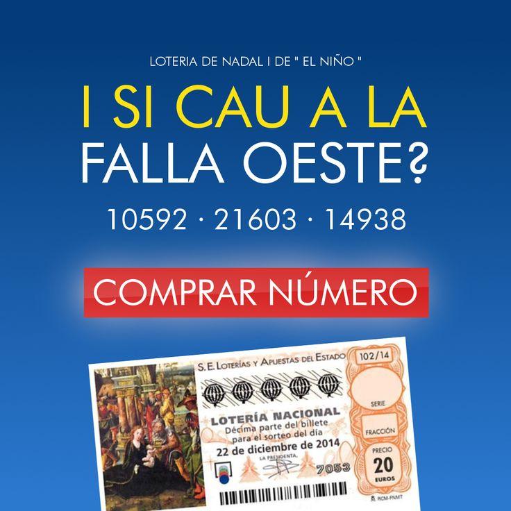 """Ja podeu comprar a http://www.fallaoeste.com/#!loteria/c1ei7 el vostre número de Loteria de Nadal i de """"El Niño"""" de la Falla Oeste. També podeu adquirir-lo els divendres de 20:45 a 21:30h en el Casal Faller Pascual García."""