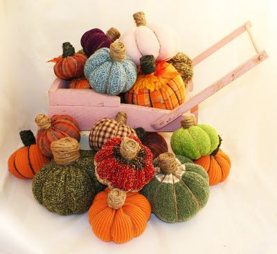 No sew pumpins made from old sweaters. Very cute and easy.