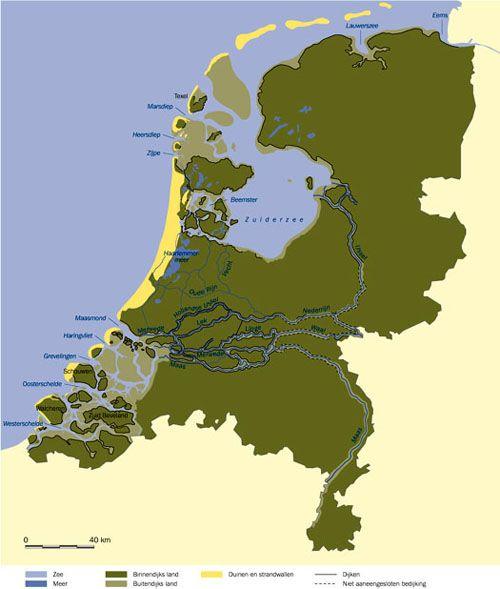 Paleogeografie van het Nederlandse vasteland tijdens de Vroege Middeleeuwen, ongeveer 800 na Christus