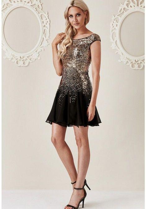 Stephanie Pratt Sequin and Chiffon Mini Dress in Black and Gold