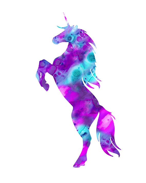 Unicorn print, unicorn watercolor print, unicorn art, unicorn painting print,  purple unicorn, unicorn silhouette, fairy tale, unicorn decor