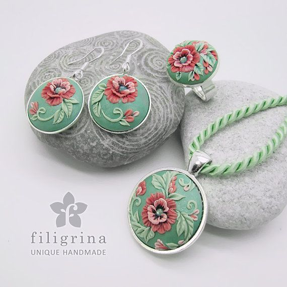 Polymer clay filigree applique technique, handmade jewelry, pendant earrings and ring, mint green silver and pink, vintage, wedding jewelry, flowers, floral jewelry, decorative poppy  Poppy Lace SET of ring pendant & earrings with floral by Filigrina, €59.49