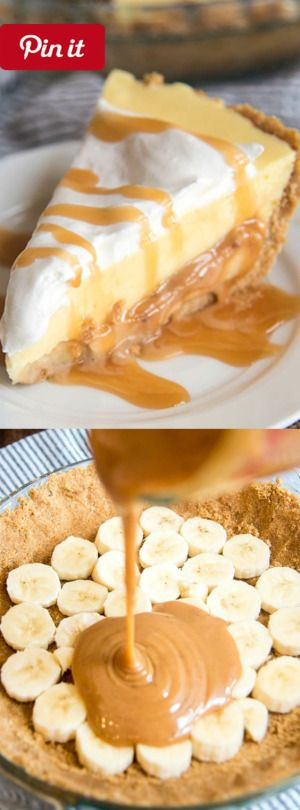 DIY Caramel Banana Cream Pie - This Caramel Banana Cream Pie has a delicious graham cracker crust followed by a caramel layer topped by banana pudding AND whipped cream! @ICookUEat