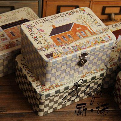 ücretsiz nakliye küçük teneke saklama kutuları/kafes/şişe hediye olarak kilit kutusu hotsales güzel demir sanat kutuları