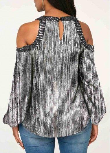 66ab95befe4d Embellished Neck Cold Shoulder Silver Shining Blouse