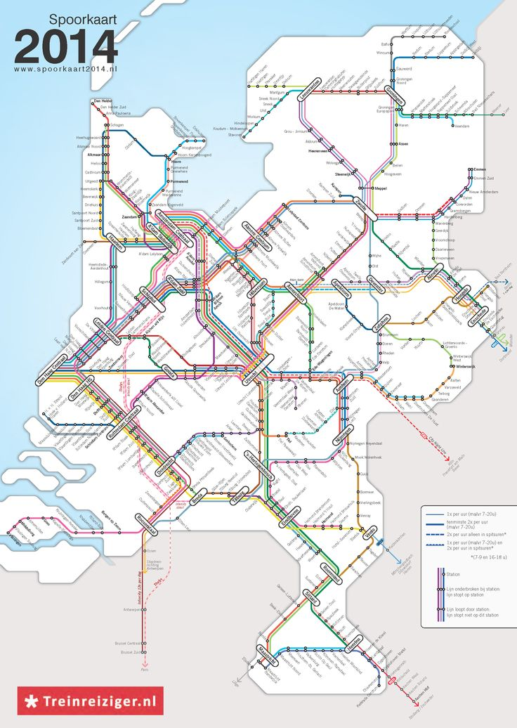 Spoorkart 2014 - #map of train services in the #Netherlands