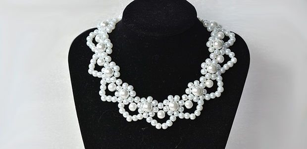 Picture of How to Make Elegant White Pearl Flower Statement Necklace for Wedding