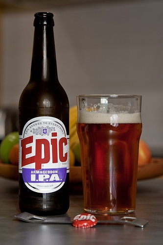 Epic - Armageddon IPA. Thankfully in NZ the craft beer scene is starting to hit the supermarket shelves. Picked this up at a local New World and as the name suggests, has more hops then your average hoppy beer.