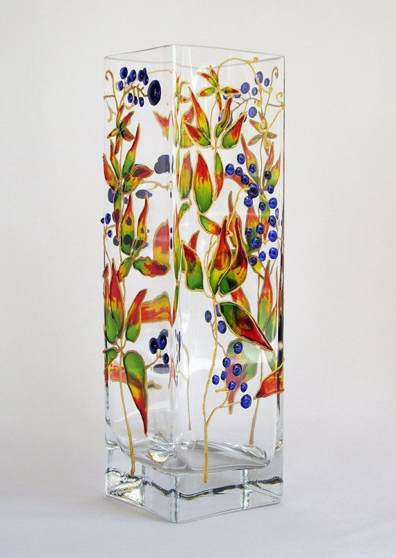 Painted Glass Vase Colorful vases Small glass vases Art by Elwelry