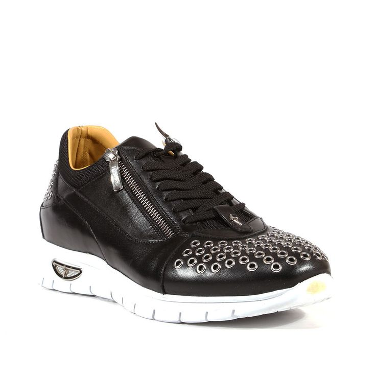 Cesare Paciotti Mens Shoes Dan Calf Soft Black Dallas Leather Sneakers (CPM3143) Material: Leather Hardware: Silver Color: Black  Outer Sole: Rubber  Comes with original box and dustbag. Made in Italy. PL47930TB-BLACK
