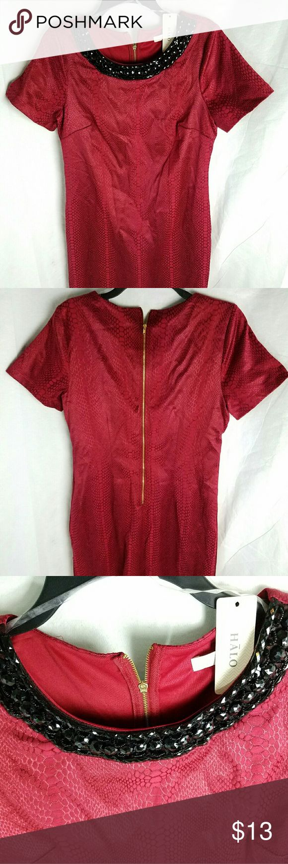 Halo red dress with bead and gemstones Brand new halo red dress size l with beads and gem stonwe neckline Halo Dresses