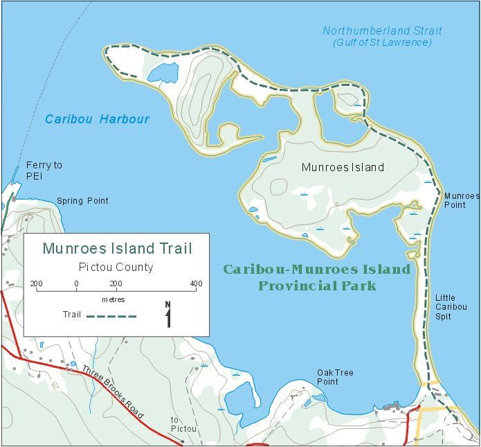 Map of: Caribou - Munroes Island Provincial Park Trail