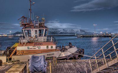 Scarica sfondi oceano, tug, reykjavik, pier, artico, islanda