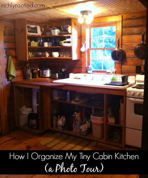 A photo tour of a cute cabin kitchen! Check out how we maximize space and store supplies--even without kitchen drawers!