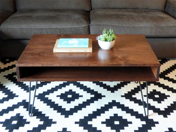 DIY mid-century modern coffee table