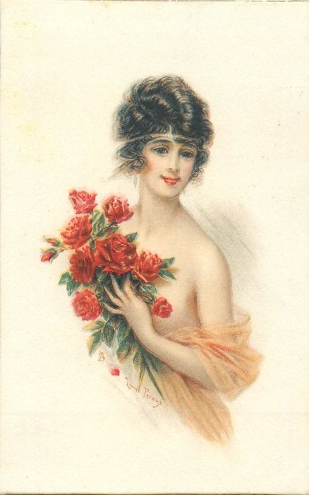 lady with revealing filmy wrap, holds large bunch of roses, faces left, looks front