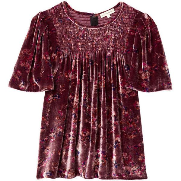 Jewel Paisley Smocked Velvet Top (2230015 PYG) ❤ liked on Polyvore featuring tops, blouses, flutter sleeve top, rebecca taylor blouse, velvet blouse, purple top and ruffle sleeve blouse