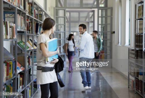 Stock Photo : library, corridor, people, flirting