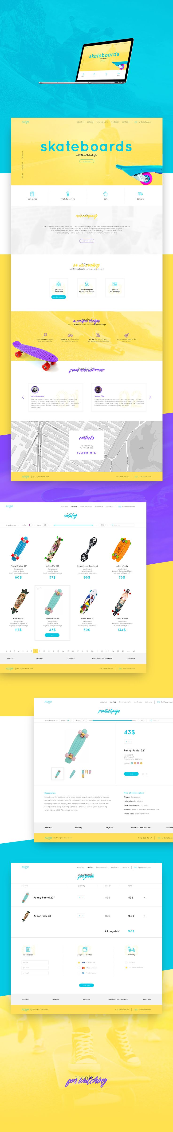 The project is designed for a company that sells skateboard with the author's design. the task of making a bright Landing was set, convenient and simple.