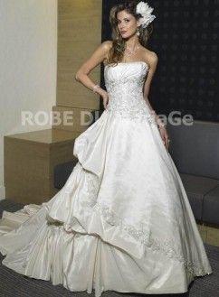 Ligne A coeur évasée satin broderie corsage dentelle traîne robe de mariée