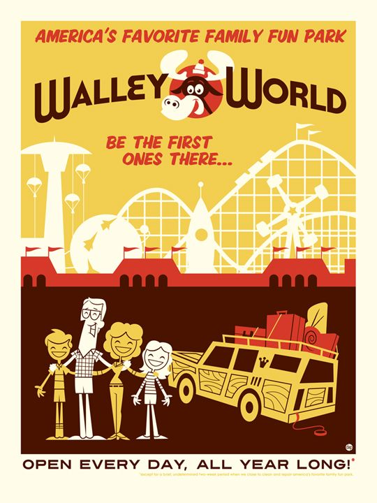 """Wally World,"" Retro travel posters inspired by '80s pop culture  by illustrators Tom Whalen and Dave Perillo.  #vintage_posters  #travel_posters"