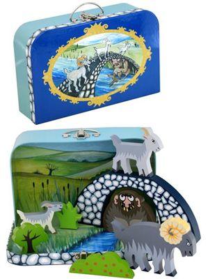 De Tre Bukkebruse som dukketeater i kuffert