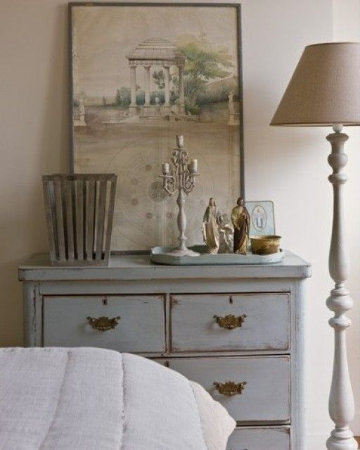 beige and grey chic in Paris - MY FRENCH COUNTRY HOME  love the floor lamp