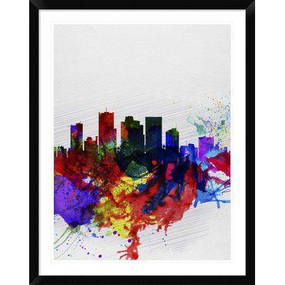 "Naxart 'Phoenix Skyline 2' Framed Watercolor Painting Print Size: 38"" H x 30"" W x 1.5"" D"