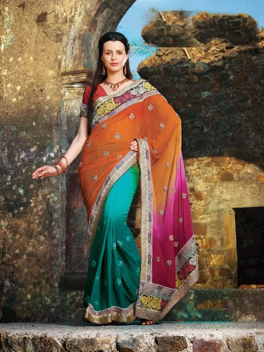 Flamboyant Coral, Fuchsia & Tal Blue Embroidered Saree | StylishKart.com