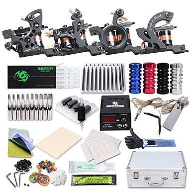 Dragonhawk® Professional Tattoo Kit 4 Cast Iron Tattoo  Machine Liner&Shader Power Supply Complete Kit