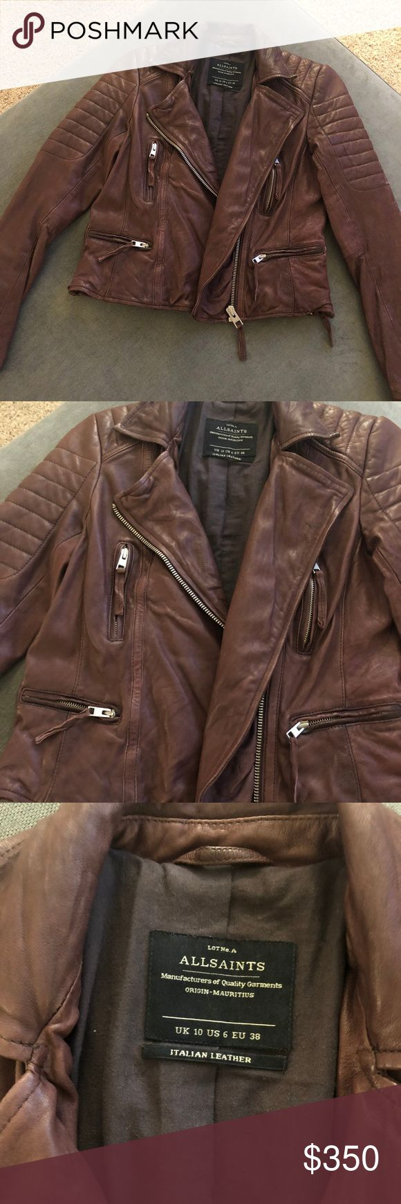All Saints Genuine Leather Jacket in Cognac Leather