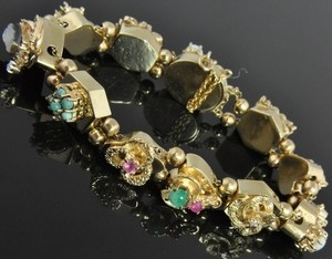 Antique 14k Yellow Gold Multi Gemstone Cameo Victorian Slide Charm Bracelet | eBay