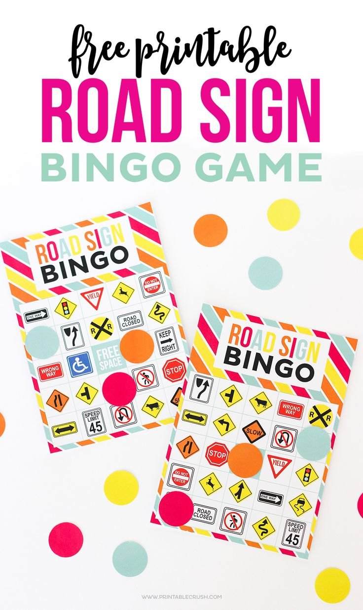 Keep The Kids Busy In The Car With This Free Printable Road Sign Bingo Game This Goes Perfectly