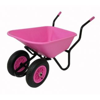 Pink Wheelbarrow Large Twin Wheel By Gardeneco 110 Lt | Wheelbarrows for sale UK